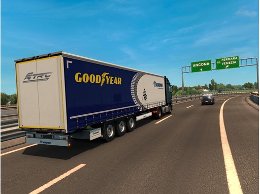 Virtual truck delivering Goodyear Racing Tires to  Misano
