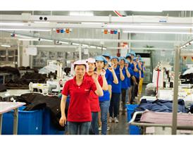 A couple of times during the working day, all the stitchers in Hilong Dongtai participates in a brief training session