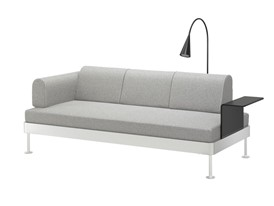 IKEA DELAKTIG 3 seat sofa with lamp and side table