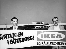 Ingvar Kamprad outside the first IKEA Store in Gothenburg, Kållered