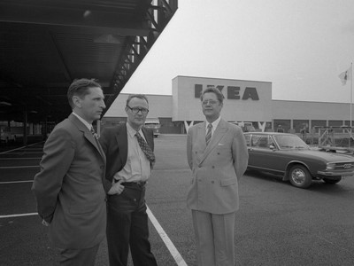 Ingvar Kamprad outside the first IKEA Store in Älmhult