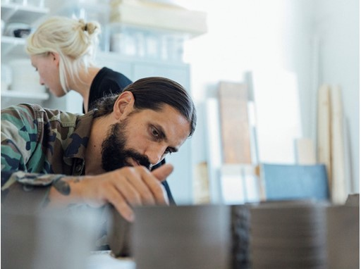 Founder of Byredo, Ben Gorham and IKEA designer Iina Vuorivirta working with OSYNLIG collection.