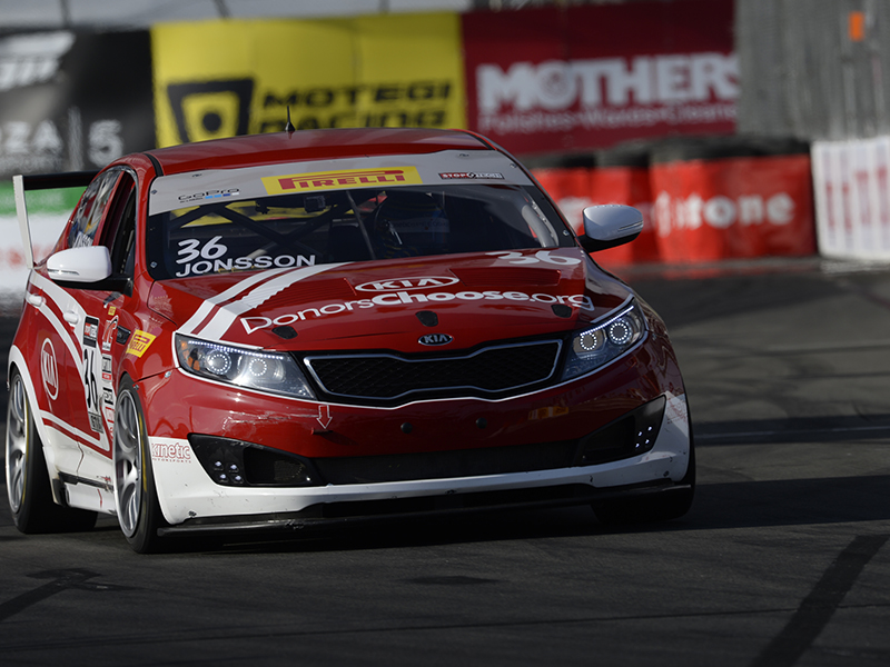Kia Racing driver Nic Jonsson captures Kia's first victory of the 2014 Pirelli World Challenge season