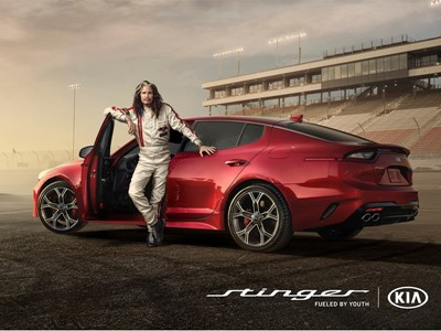 Steven Tyler and Emerson Fittipaldi Hit the Racetrack in Kia Motors'  Super Bowl Ad for the All-New Stinger Sportback Sedan