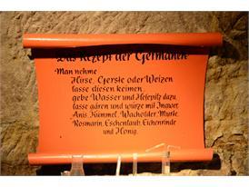 Schild im Felsenkeller - Rezept der Germanen
