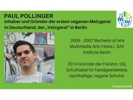 """Paul Pollinger, Inhaber und Gründer der ersten veganen Metzgerei in Deutschland, der """"Vetzgerei"""" in Berlin"""