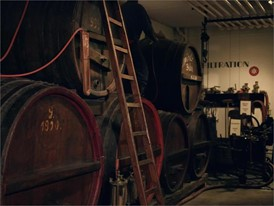 Beer Museum at Bayreuth, Bavaria, cellar with casks
