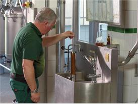 Modern brewery in Bavaria, close to Munich, brewhouse, measuring of the original wort