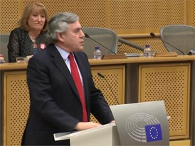 Gordon Brown, Premierminister Großbritanniens, spricht im Europäischen Parlament zu Brexit