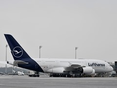 Right on time for the end of the 100th Crane Birthday: First Airbus A380 in new Lufthansa Design