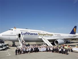 """Lufthansa Boeing 747-8 """"Siegerflieger"""" arriving at Frankfurt Airport"""