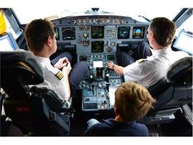 Gleich geht es los: Davids erster Flug im Cockpit