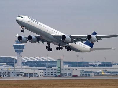 Lufthansa is flying special Airbus A340-600 aircraft between Munich and Berlin-Tegel