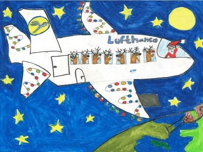 Friedberger Schüler malen Lufthansa-Weihnachtskarte