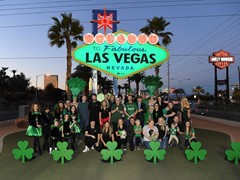 Welcome To Fabulous Las Vegas Sign Goes Green For St. Patrick's Day