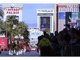 Fans line the Las Vegas Strip to see Clydesdales