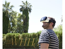 Brian Kelly experiences Vegas VR app at the #WHHSH Las Vegas Party in Palm Springs