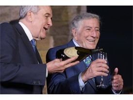 Larry Ruvo and Tony Bennett, preparing the toast