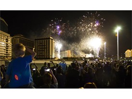 Spectators view pre-implosion fireworks