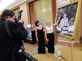 Jay Sarno's Children Admire Their Father's Image at the 50th Anniversary Party for Caesars Palace