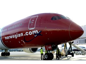 Norwegian aircraft pulls up the the gate in Las Vegas