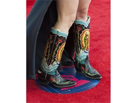 Amalia Mondragon shows off her custom cowboy boots