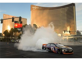 Denny Hamlin performs a burnout