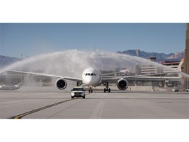 Hainan Airlines is greeted with a traditional water arches salute