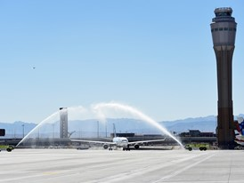 Water-arches for Inaugural Eurowings flight to Las Vegas