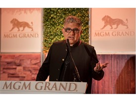 Dr. Deepak Chopra speaks at a press conference to announce an expansion of the MGM Grand Conference Center