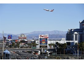 An Air Canada flight takes off from McCarran International Airport