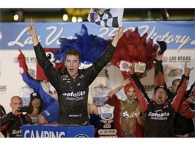 Ben Rhodes celebrates winning the NASCAR Camping World Truck Series