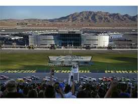 The NASCAR Camping World Truck Series Las Vegas 350 passes the start finish line