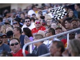 A flag waves in the grandstands during the NASCAR Camping World Truck Series