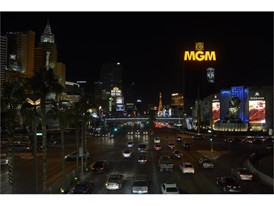 Marquees along the Las Vegas Strip are dimmed