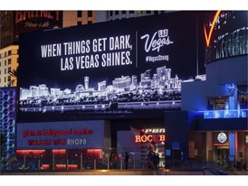 Marquees along the Las Vegas Strip display a message of resilience