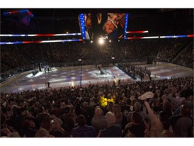 The national anthem is sung before the Vegas Golden Knights home opener