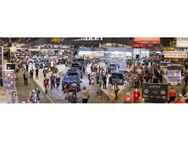 A multi-exposure panorama of the Specialty Equipment Market Association (SEMA) Show