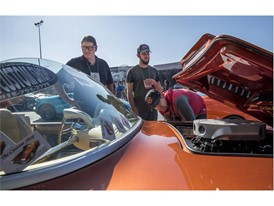 Attendees take in a custom Corvette at the Specialty Equipment Market Association (SEMA) Show