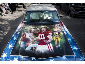 The paint on a 1968 Chevrolet Impala honors Arizona Cardinals football star and war hero Pat Tillman at the SEMA Show