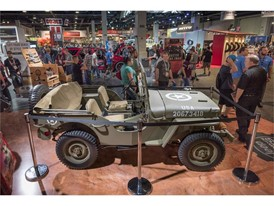 A restored 1944 Willys Jeep is displayed in the South Halls during the Specialty Equipment Market Association (SEMA) Sho