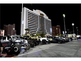 Vehicles line up near Marriott