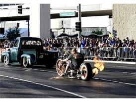 Motorcycle spews flames