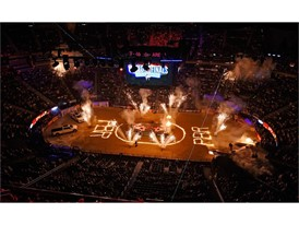 The pyrotechnics displayed is seen before the start of the the PBR World Finals