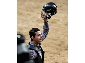 Claudio Montanha Jr. reacts after his ride
