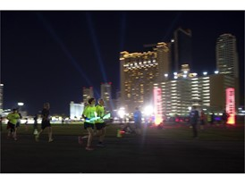 Runners make their way along the course during the Rock 'n' Roll Las Vegas Marathon 5K run