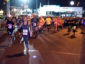 Runners leave the starting line during the Rock 'n' Roll Las Vegas Marathon 5K run