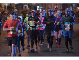 Participants head north on the Strip during the Rock 'n' Roll Las Vegas Marathon