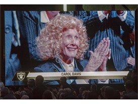 Carol Davis, mother of Oakland Raiders owner Mark Davis, is shown on screen
