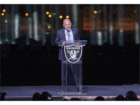Oakland Raiders President Marc Badain speaks  at the groundbreaking